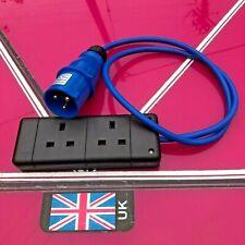 16amp plug to 13amp twin socket 1 meter fly lead generator camping caravan