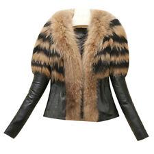 Elegant Women Fur Collar Winter Warm Coat Leather Jacket Overcoat Parka Outwear