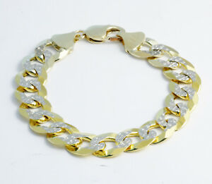 "41.20 gm 14k Two Tone Gold Men's Cuban White Pave Bracelet Chain 8.50"" 13.50 mm"