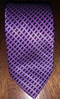 "Recent STEFANO RICCI Purple Black Geometric silk tie 60""x3.5"" Made in Italy"