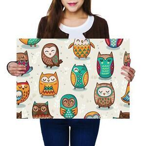 A2 | Cartoon Owls Bird Nursery Size A2 Poster Print Photo Art Sister Gift #13134