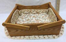 Wooden Caddy Crate Utensils Condiments Kitchen Organizer Holder w/ 2 Placemats