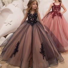 Flower Girl Dress V Neck Backless Applique Princess Pageant Dresses Party Dress