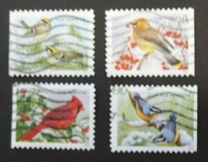 US USED 2016 SONGBIRDS OFF PAPER ALL GUM REMOVED 4 VALUE SET SC 5126 - 5129