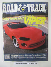 Road and Track Magazine  April  1989   Dodge/Shelby Viper V-10 Powered Supercar