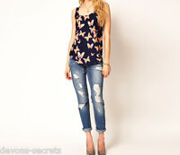 ladies blouse chiffon butterfly vest summer top t shirt WOMENS 8 10 12 14  LT4