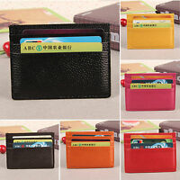 Mens Womens Genuine Leather Small Id Credit Card Wallet Holder Slim Pocket Case