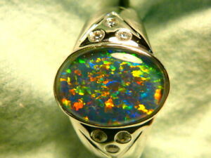 Mens Opal Ring Sterling Silver, Natural Opal Triplet. 14x10mm Oval . item 150663