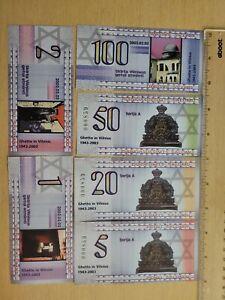 🇱🇹 Lithuania Jewish Ghetto 2003 1,2,5,20,50 & 100 Shalomi Banknote 091721-1