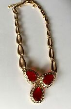 Vtg Gold Ruby Red Pear Glass Stones Adjustable Collar Necklace Bib Chunky Choker