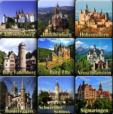 Souvenir fridge magnets -  List of castles in Germany - set of 9  magnet