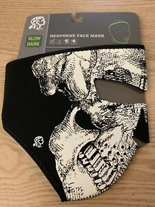 ZAN HEADGEAR FULL FACE NEOPRENE MASK GLOW IN THE DARK SKULL WNFM002G