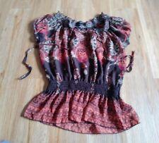 Boho Semi Sheer Brown Orange Tan Floral Blouse Top Shirt Size L a4