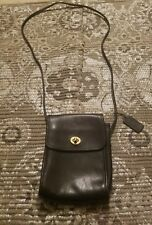 """COACH Auth 9893 Vtg Black Leather """"Scooter"""" Flap Messenger Crossbody Swing Bag"""
