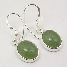 925 Silver Collectible AVENTURINE Gem EXTRA ORDINARY DANGLING Earrings 1.1 Inch