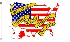 Welcome Home Flag 3x5 ft Yellow Ribbon Troops Military American Usa Map Proud Us