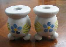 2 - Scandinavian Sweden White Wood Candle Holders Painted Flower