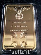GERMAN IRON CROSS BAR WW1 WW2 GOLD COIN DEUTSCHE REICHSBANK 100 MILL GERMANY