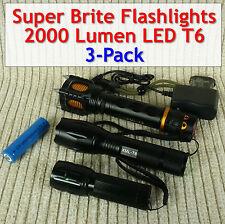 Super Bright LED Flashlights 2000 Lumen (3-pack different sizes/types)