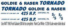 1963 Ford Galaxie Tornado Drag NHRA 1/32nd Scale Slot Car Waterslide Decals
