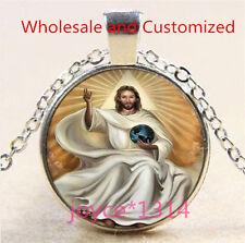 Vintage Saint Jesus Cabochon Tibetan silver Glass Chain Pendant Necklace #4767
