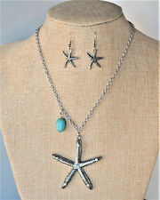 STARFISH PENDANT CRYSTAL STONE NATURAL STONE Aged Silver FINISH NECKLACE SET