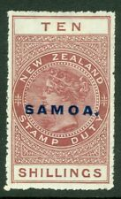 SG 131 Samoa 1914-24. 10/- maroon. A fine lightly mounted mint example CAT £85