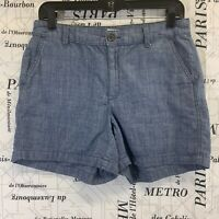 A New Day Womens Shorts Light Blue Chambray Flat Front Size 6