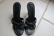 Tod's Black leather slip on kitten heels.. Size 7 . Retail $375.