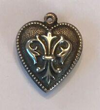 puffy heart charm sterling vintage fleur de lis