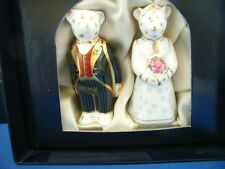 Bride & Groom Miniature Teddy Bears  Royal Crown Derby in Silk Lined Gift Box