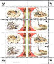 Palestine 2001 WWF/Endangered Birds/Bustard/Nature/Wildlife 8v sht (b6299)