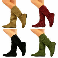 New Womens Ladies Low Flat Heel Pull On Mid Calf Boots Winter Fashion Shoes Size
