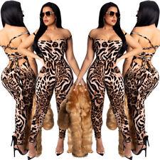 Sexy Women Backless Bandage Boat Neck Sleeveless Leopard Print Bodycon Jumpsuit