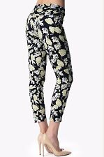 NWT 7 FOR ALL MANKIND Sz23 THE CROPPED SKINNY CONTOUR STRETCH JEANS BLACK FLORAL