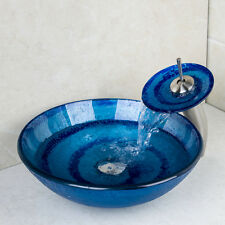 Blue Round Glass Basin With Spiral Painting Vessel Sinks Waterfall Faucet Drain