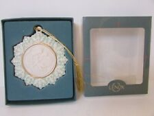 Lenox China Holiday Ornament Cameo Collection Cherub With Green Accent Boxed