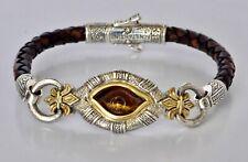 Konstantino Mens Tiger's Eye Brown Leather Evil Eye Bracelet Sterling Silver New