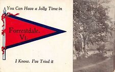 """You Can Have A Jolly Time"" in Forrestdale Vermont~I Know~1912 Pennant Postcard"