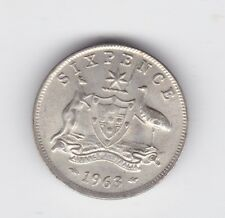 1963 Silver 6p Sixpence Coin Australia with DIE BREAK variety A-951