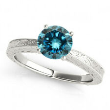 0.5 Ct Round Blue Diamond SI2 Solitaire Engagement Ring Stunning 14k White Gold