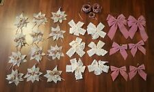 Victorian Lace Doily Snowflake Star Bows Pink Christmas Tree Holiday Ornaments