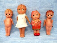 Celluloid Dolls Lot Japan and Occupied Japan Flappers Glancing Eyes Indian NatAm