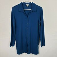 J Jill WOmens Top Size S Blue Button DOwn Long SLeeve Collared Stretch SHirt