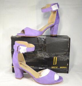 IDIFU Candie-MI Women's Peep Toe Block Heels Sandals Ankle Color: Lilac Suede