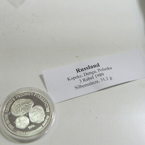 3 Rubel Silber Rußland 1989 Poluska = 1 Unze                           30/13