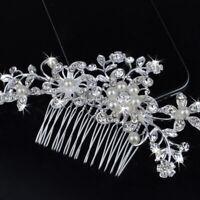 Bridal Wedding Flower Pearls Hair Comb Clip Diamante Rhinest Flower Re Crys S9Z6