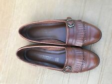 The Leather Collection Womens 7.5 M Brown Kiltie Strap Loafer Shoes