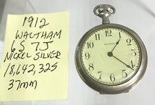 1912 Waltham Pocket Watch 6S 7J Runs Nickel Silver 37mm 18,642,325