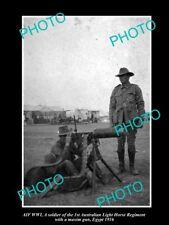 OLD LARGE HISTORIC PHOTO OF AUSTRALIAN ANZAC 1st LIGHT HORSE MACHINE GUN c1916